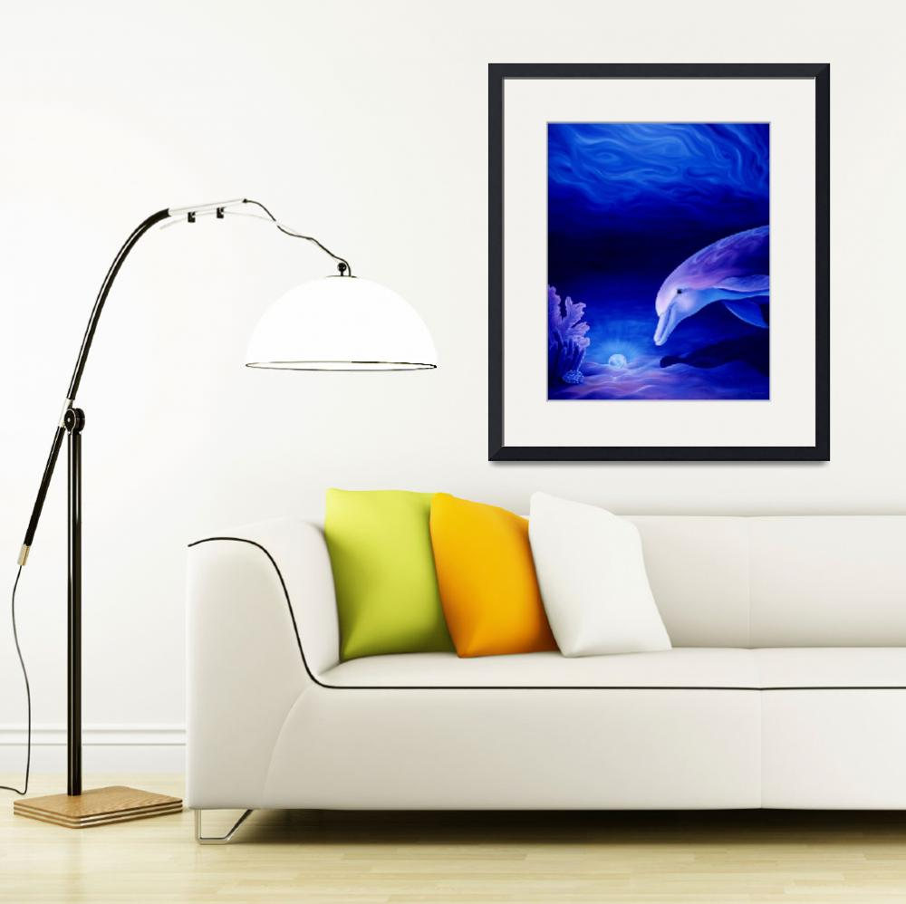"""""""Dolphin and Reef Oil Painting&quot  by savanna"""