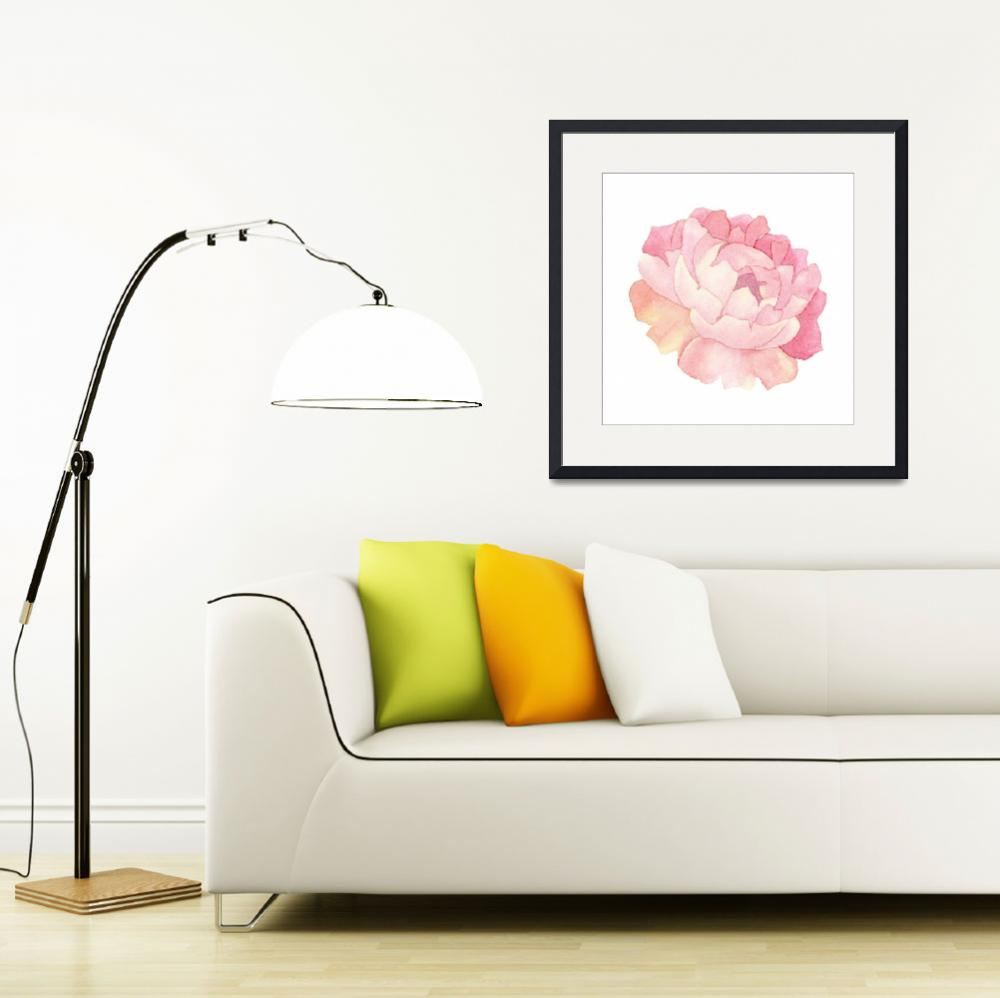"""""""Peony Watercolor&quot  (2018) by taylansoyturk"""