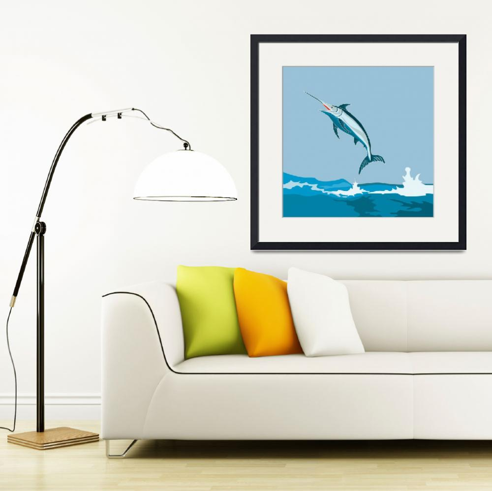 """Blue Marlin Fish Jumping Retro&quot  by patrimonio"