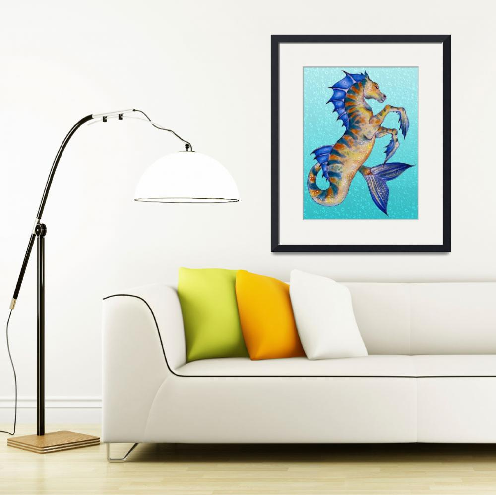"""""""Seahorse Turquoise&quot  (2015) by artdeep"""