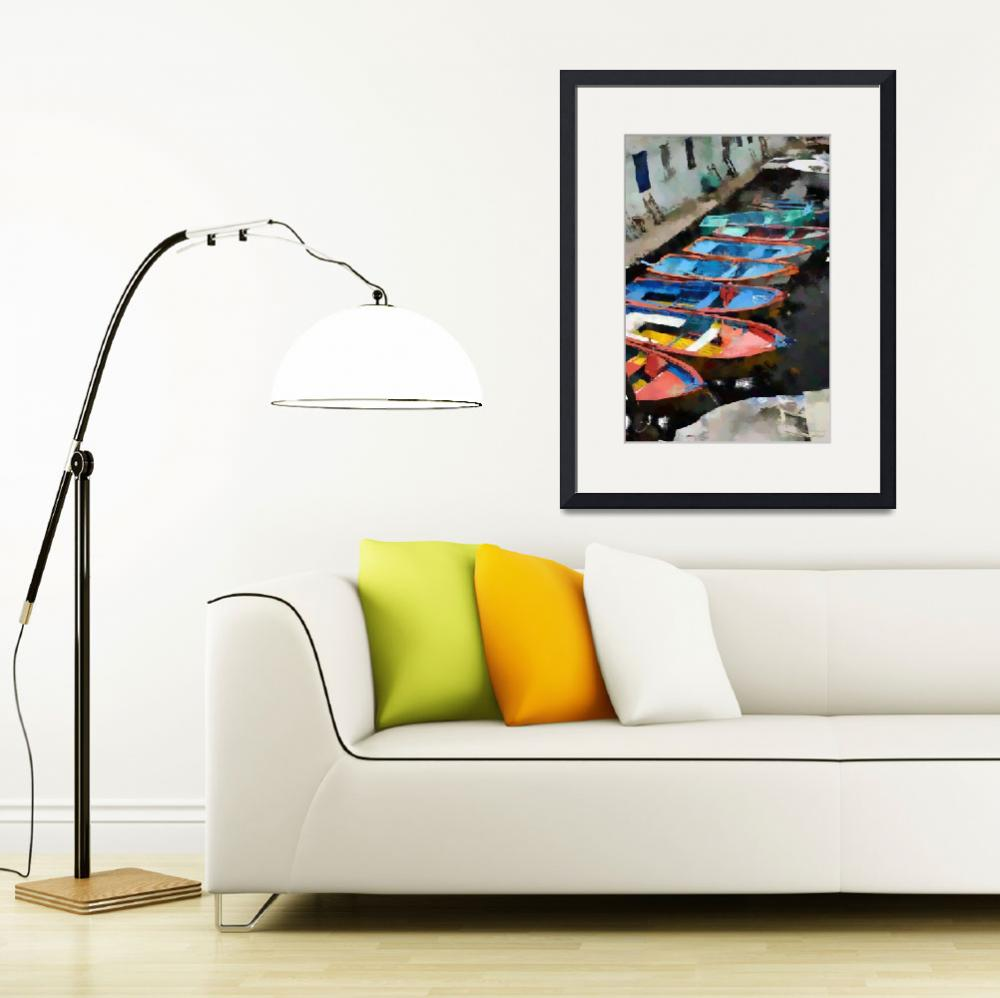 """""""Small Old Colorful Boats - Oil&quot  (2012) by WallArtDeco"""