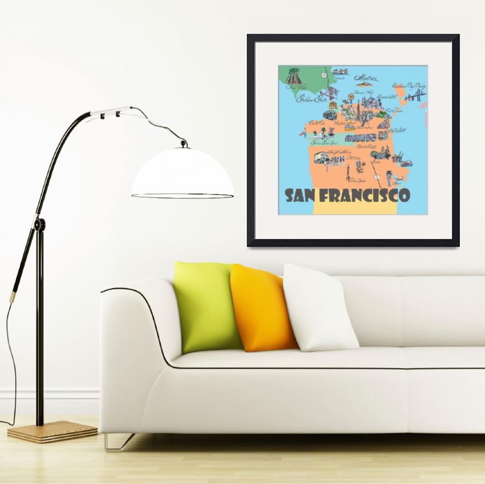 """San Francisco Fine Art Print Retro Vintage Map&quot  (2018) by arthop77"