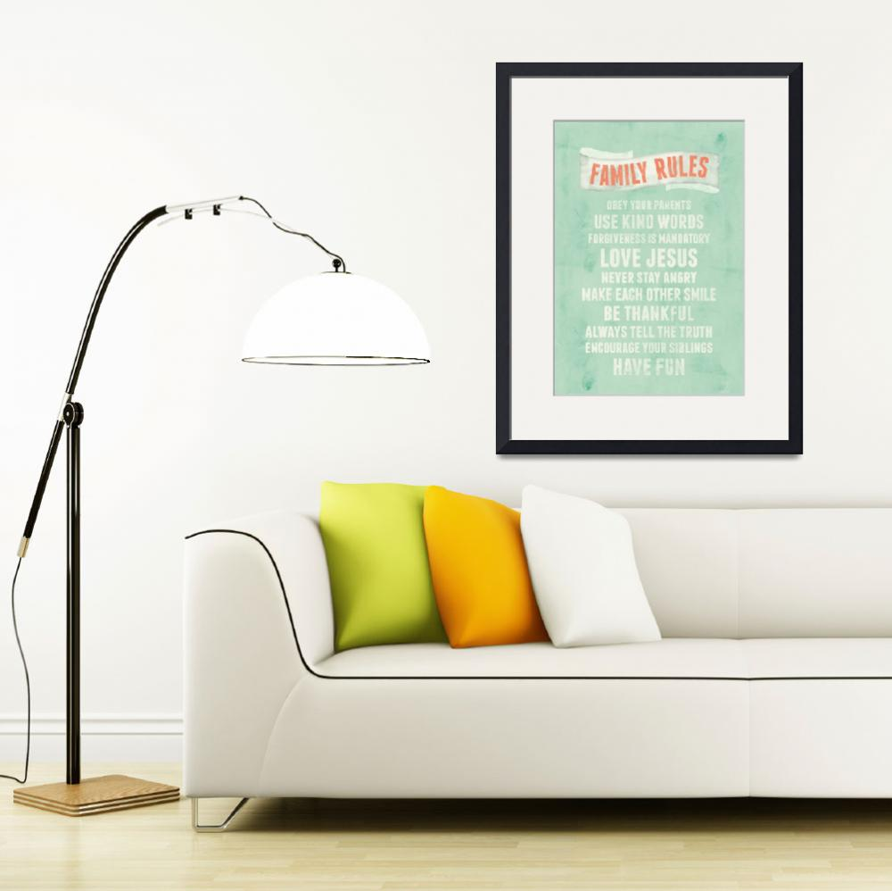 """Be Thankful Family Rules Wall Art&quot  by KateLillyson"