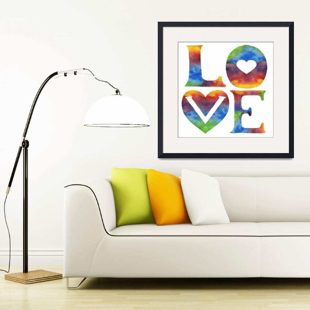 """""""LOVE Sign Watercolor Word And Letters Hearts&quot  (2019) by IrinaSztukowski"""