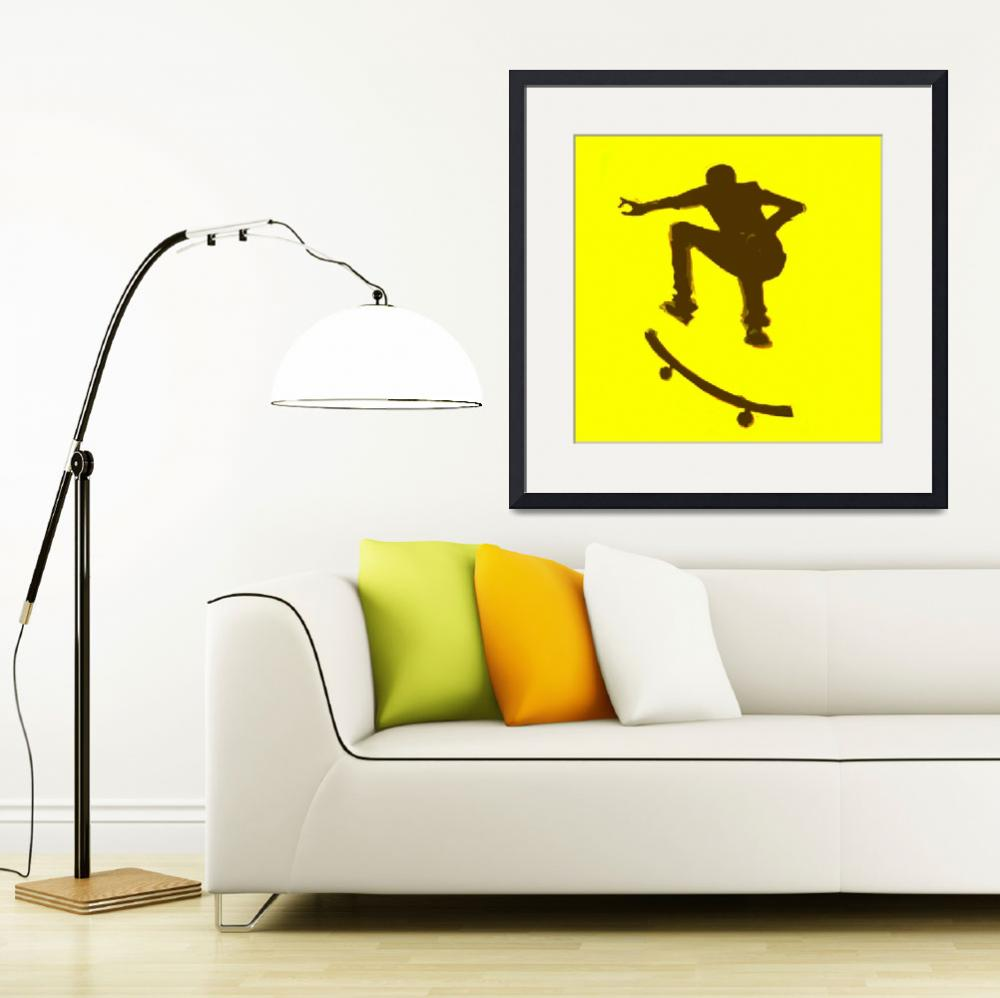 """Skateboarder 2 . yellow brown (c)""  (2014) by edmarion"