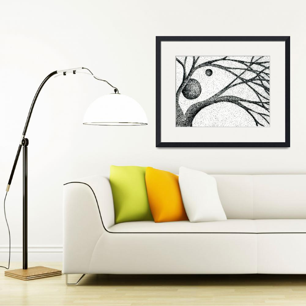 """""""Pen & Ink Illustration Of Tree Branches And Moons&quot  (2011) by drawingwithdots"""