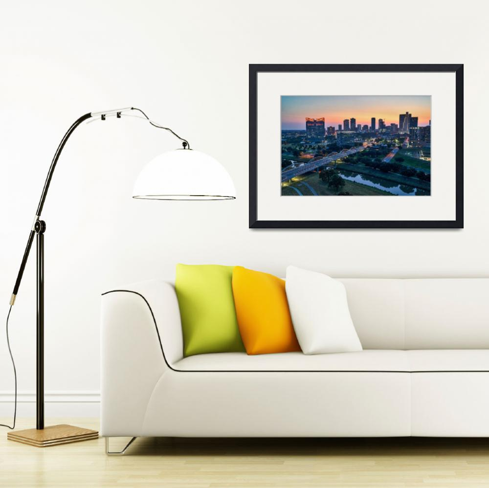 """""""Fort Worth Cityscape at Sunrise""""  (2017) by beecreekphotography"""