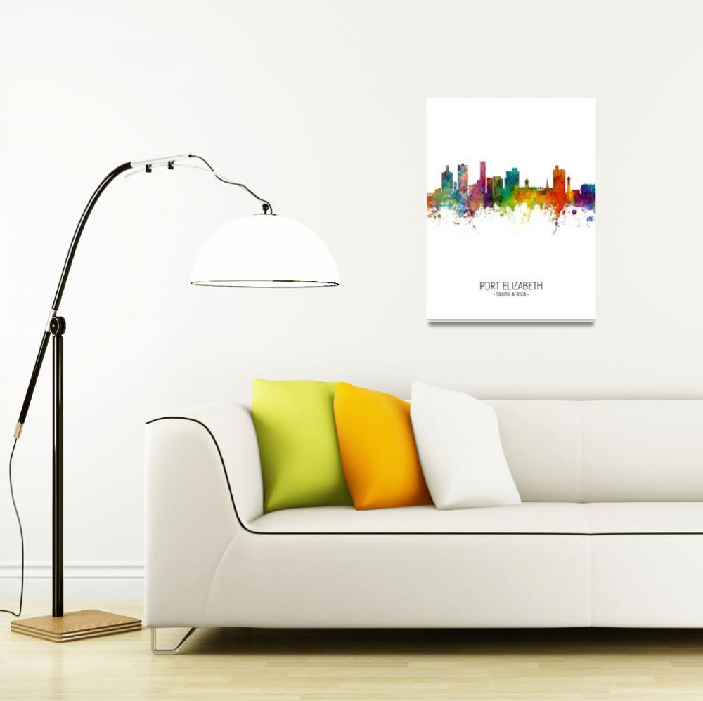 """Port Elizabeth South Africa Skyline""  (2018) by ModernArtPrints"