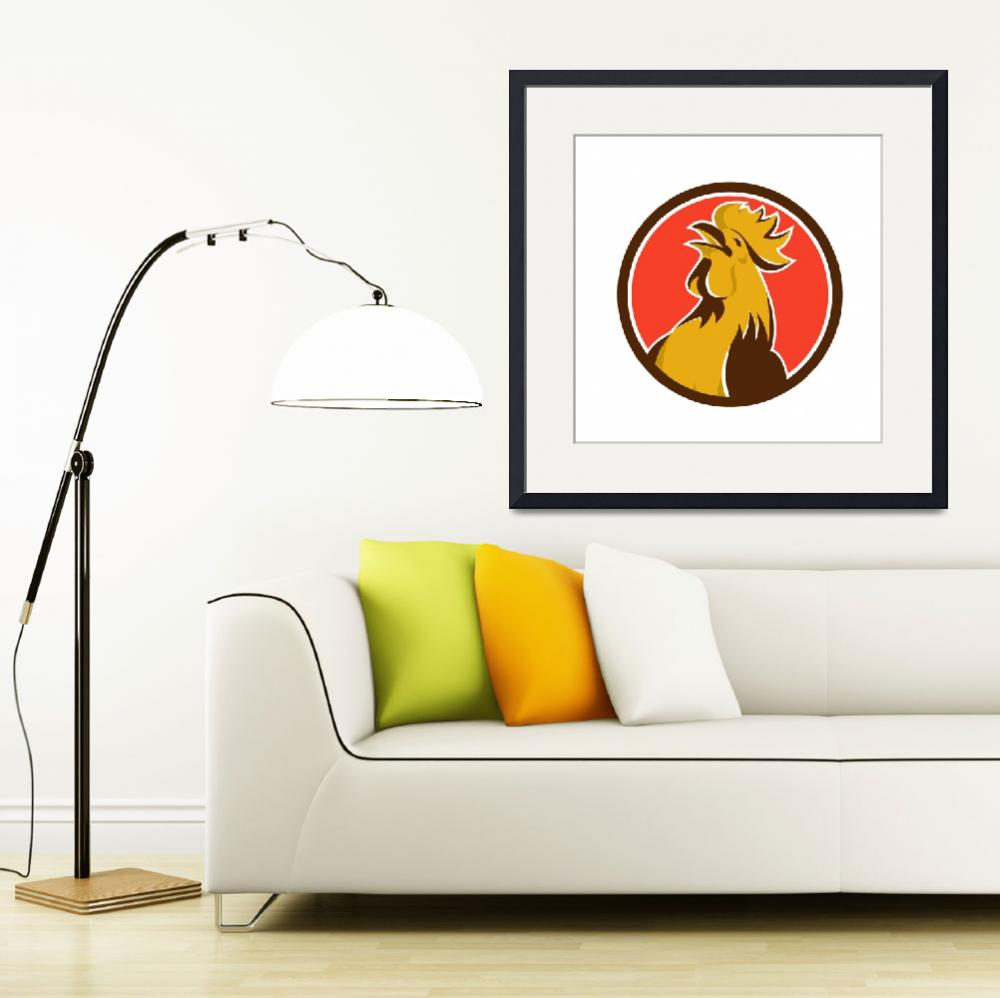 """Chicken Rooster Crowing Circle Retro&quot  (2015) by patrimonio"