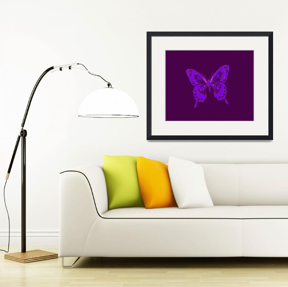 """Glowing Blue Violet Butterfly on Violet Background&quot  (2013) by TheNorthernTerritory"