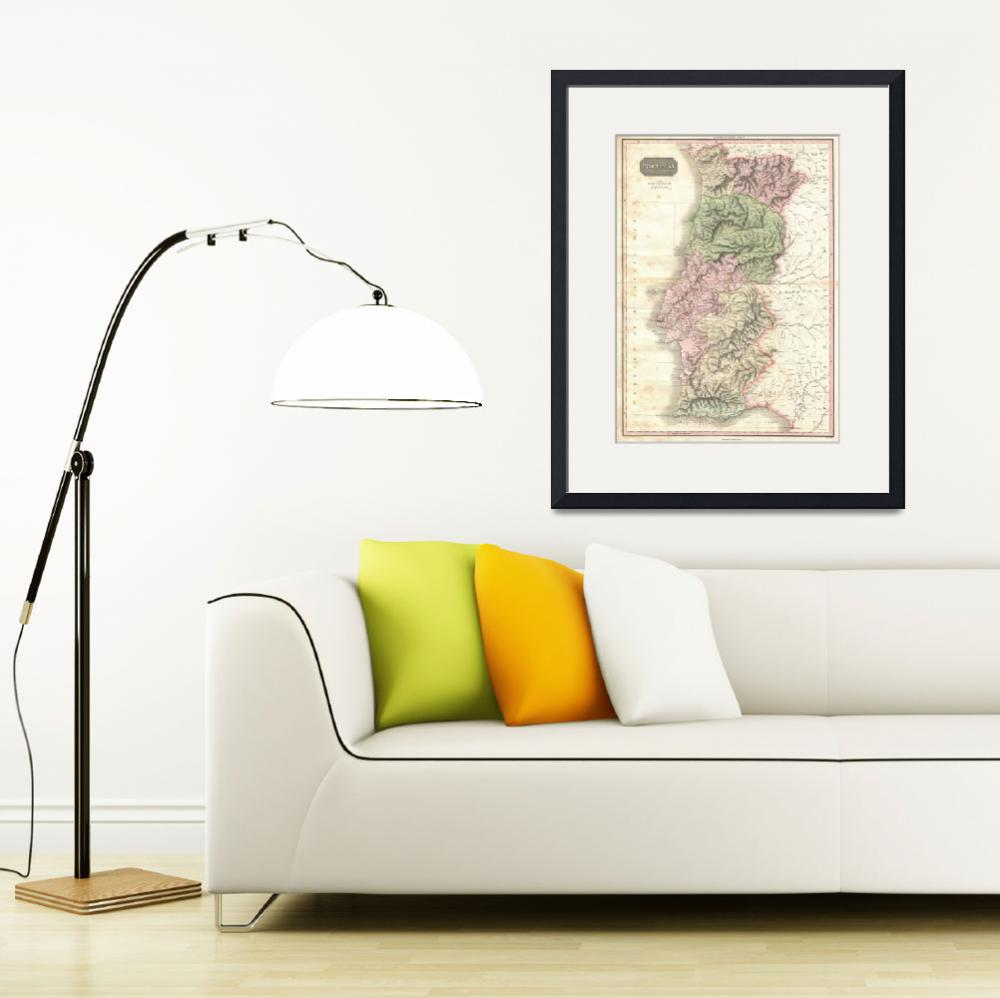 """""""Vintage Map of Portugal (1818)&quot  by Alleycatshirts"""