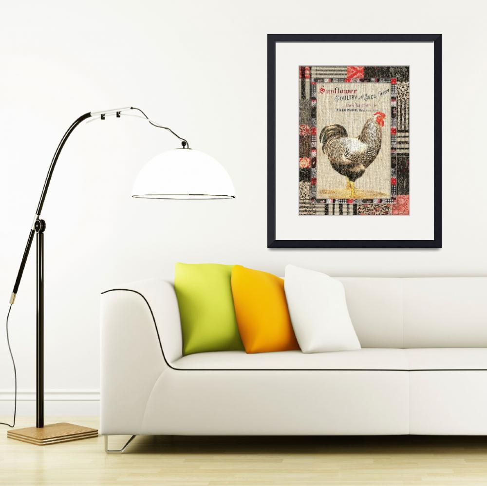 """""""Country Farmhouse Style Chicken Grain Sack Vintage&quot  (2016) by WAGlacierGraphics"""
