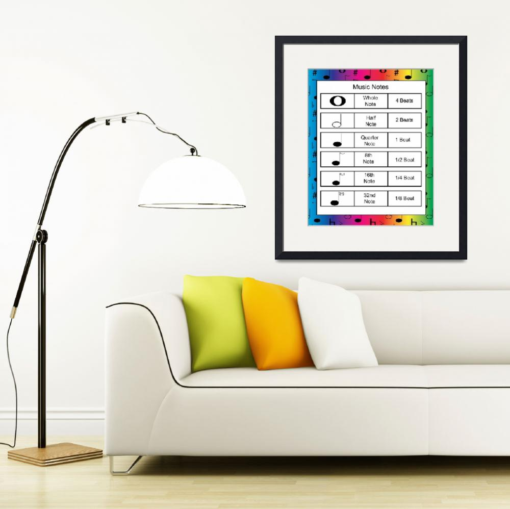 """""""Music Notes on Rainbow Background&quot  (2011) by ValeriesGallery"""