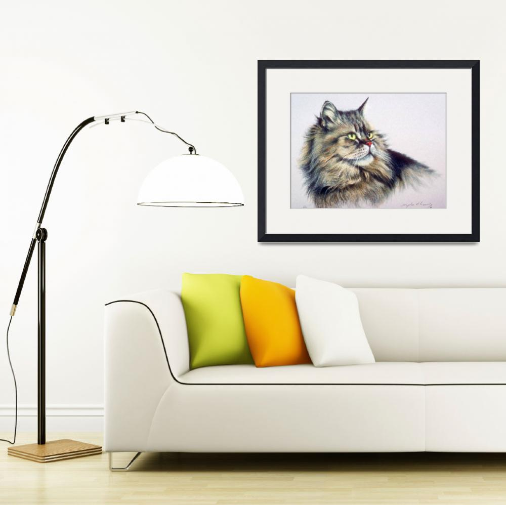 """""""Long Hair Tabby Cat&quot  by ArtLoversOnline"""