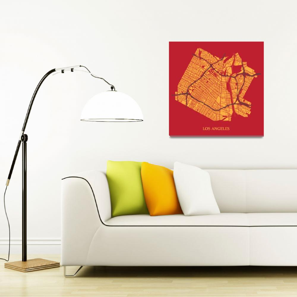 """Los Angeles - Gold on Red with Title""  (2013) by geosthetics"