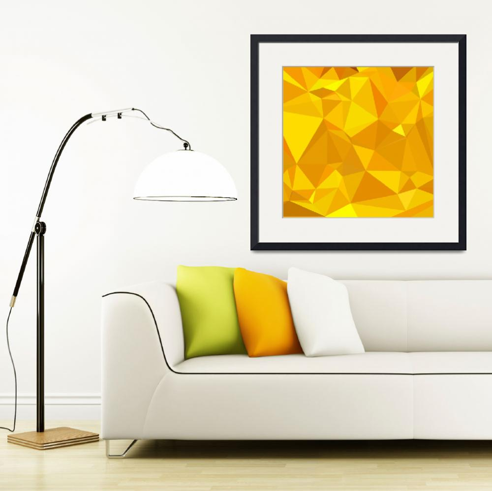 """Peridot Yellow Abstract Low Polygon Background&quot  (2015) by patrimonio"