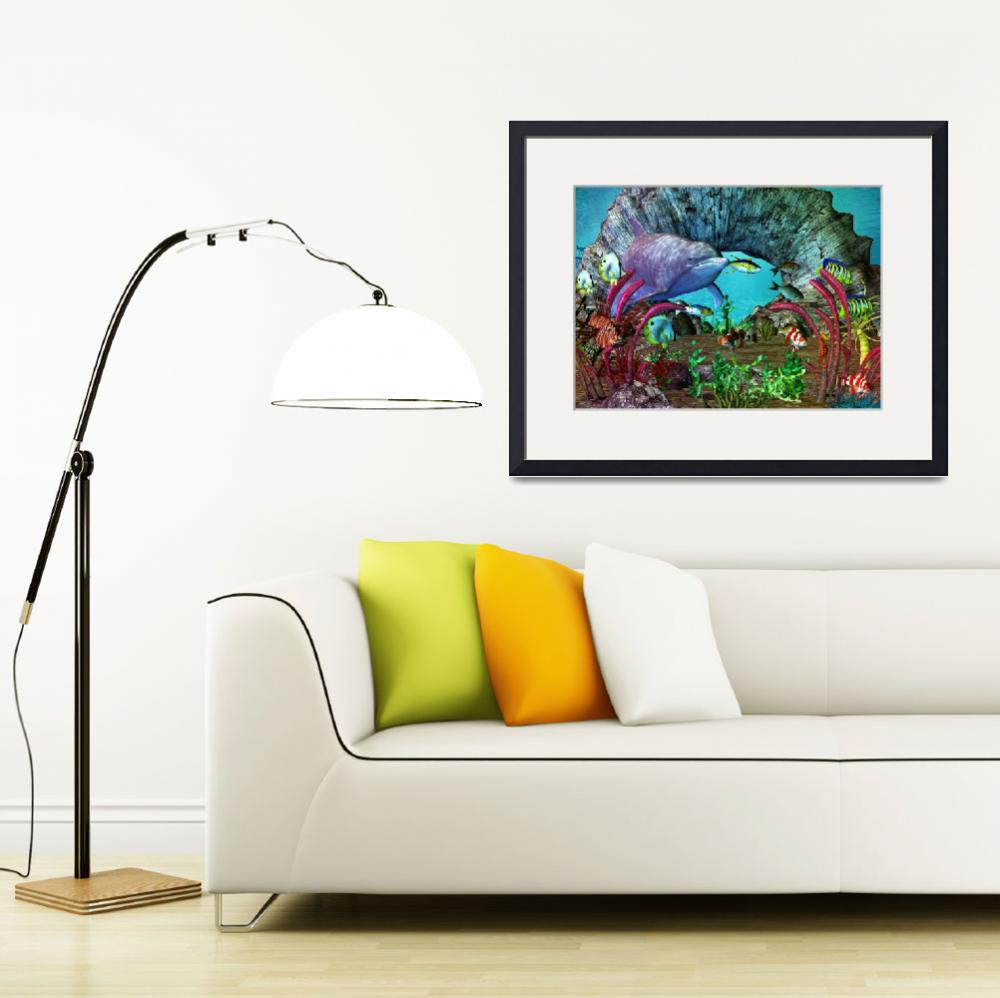"""""""Dolphin Discovery The Caribbean&quot  (2013) by ReneeLozenGraphics"""