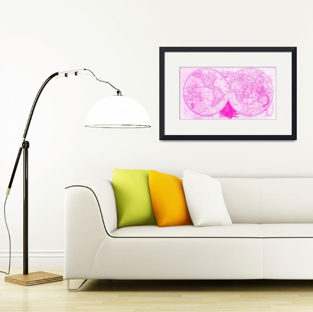 """""""World Map (1811) White & Pink&quot  by Alleycatshirts"""