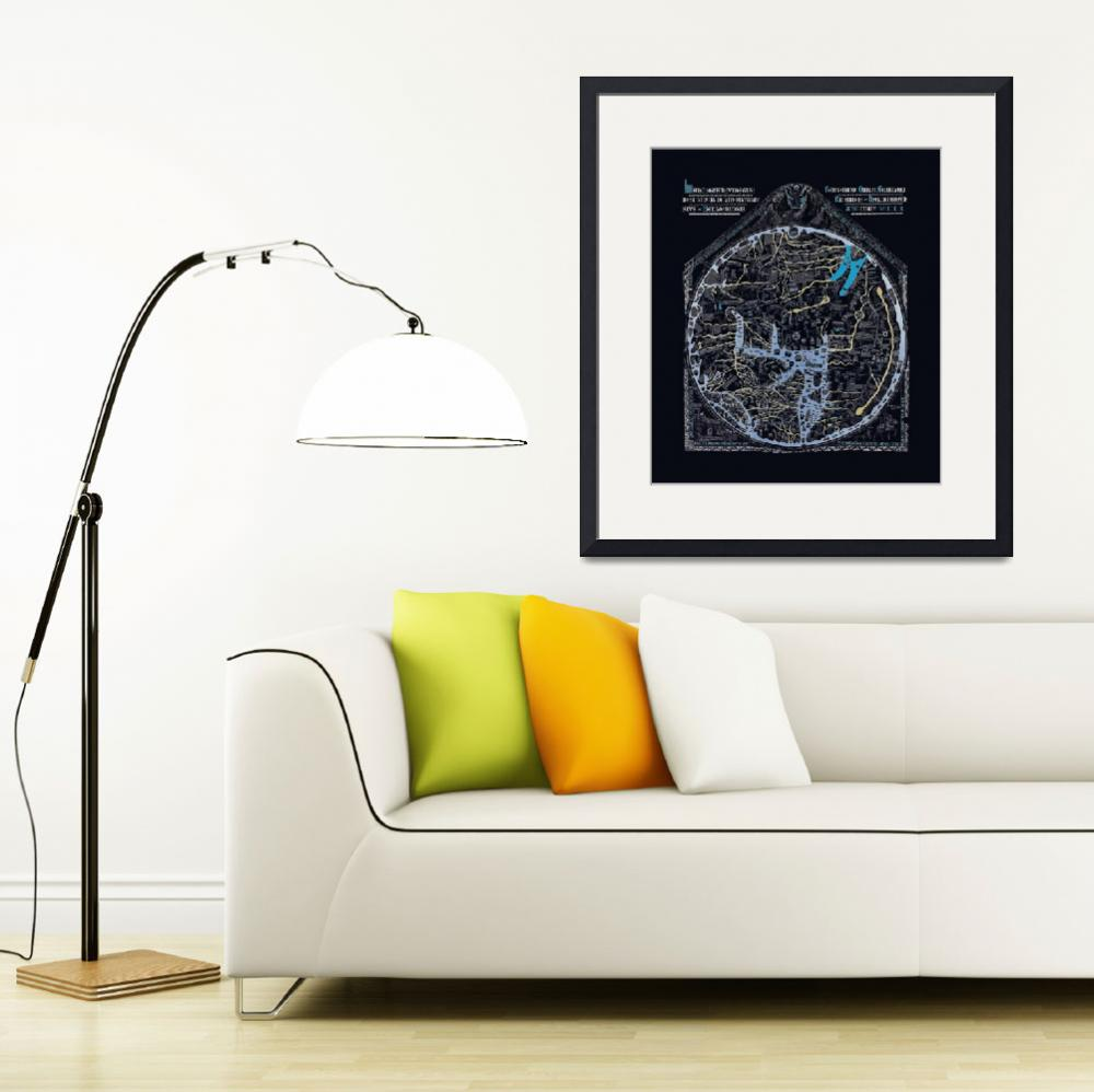 """Hereford Mappa Mundi Latin Text Lrg Border Neg Ima&quot  (2014) by TheNorthernTerritory"