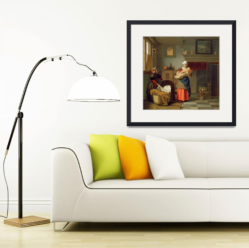 """""""Nursemaid with baby in an interior and a young gir""""  by fineartmasters"""