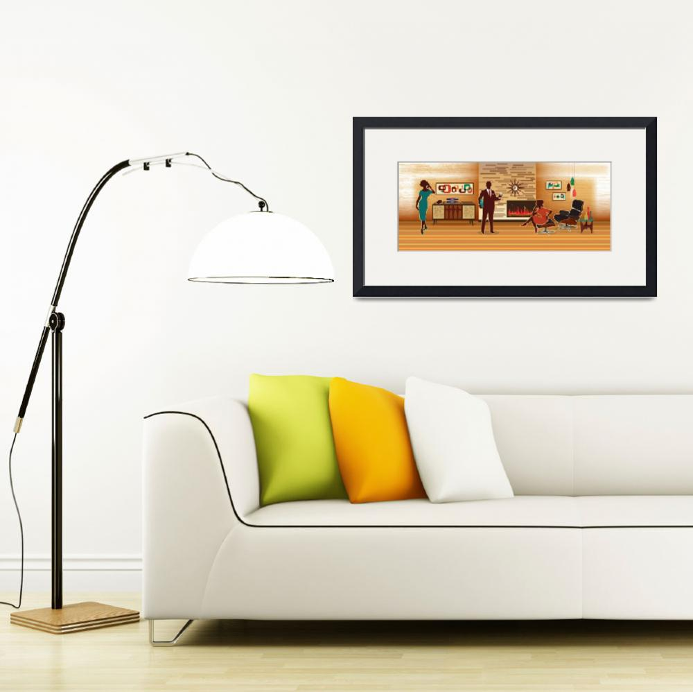 """""""Mid Century Modern Living Room Scene&quot  (2014) by DianeDempseyDesign"""