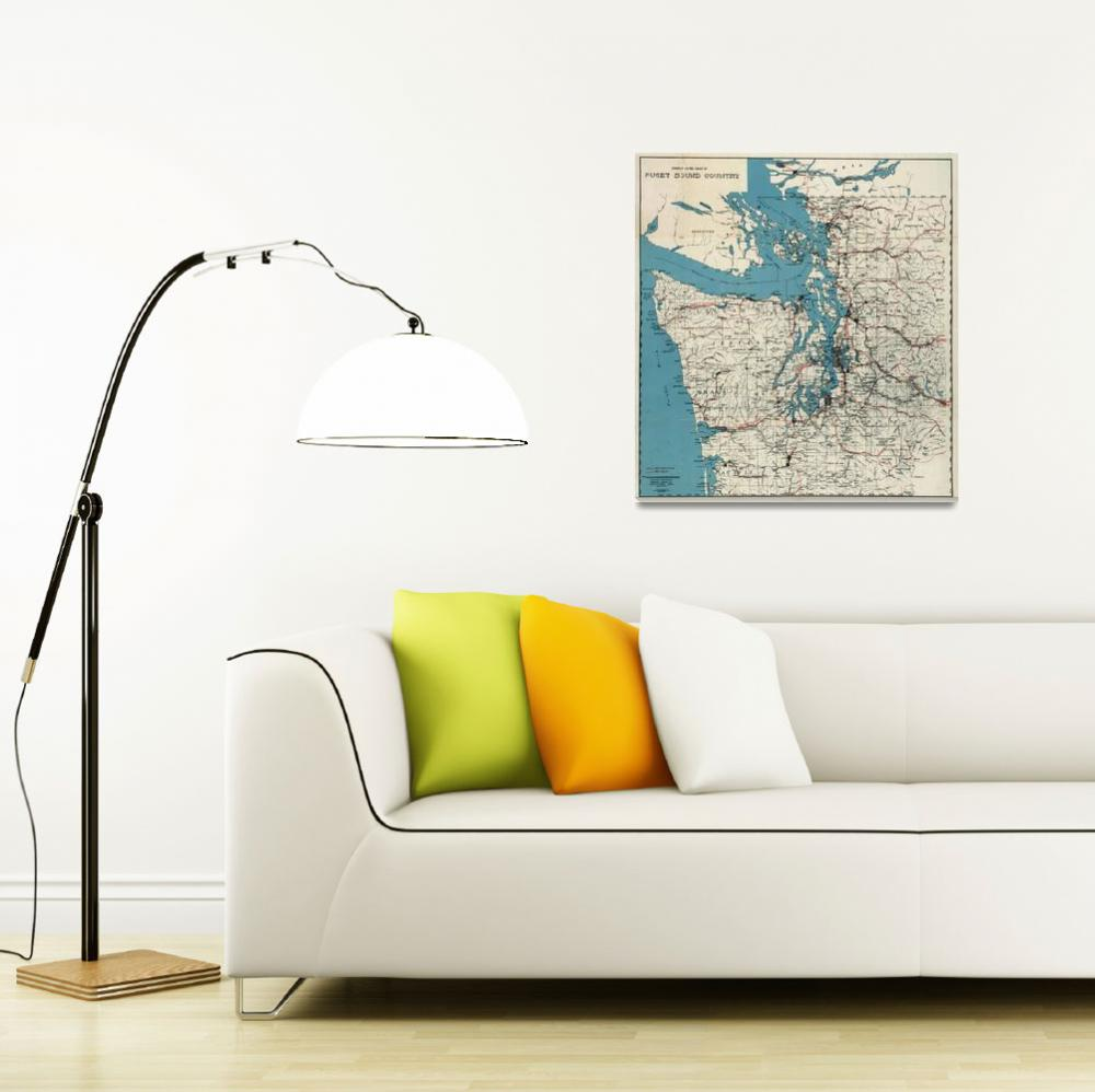 """Vintage Map of The Puget Sound (1919)&quot  by Alleycatshirts"