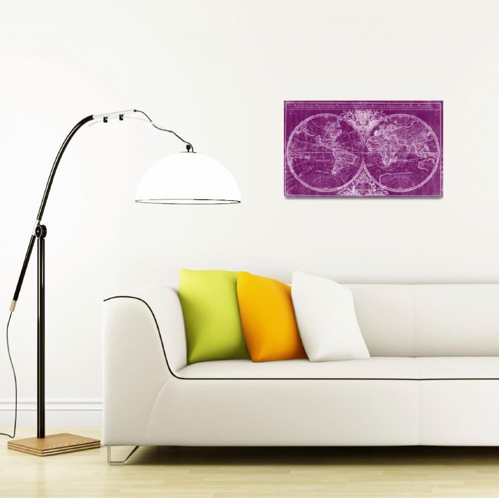 """World Map (1691) Purple & White""  by Alleycatshirts"