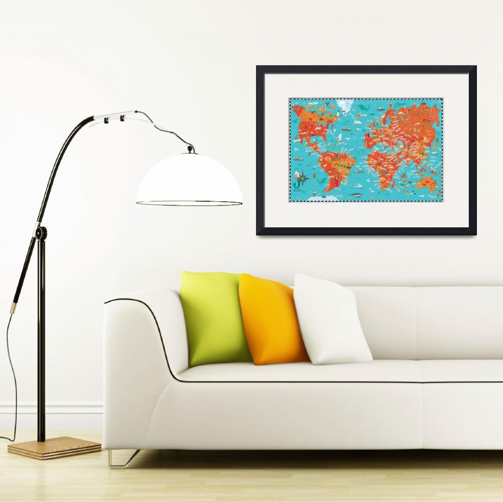 """Illustrated Map of the World by Nate Padavick&quot  by TheyDrawandCook"