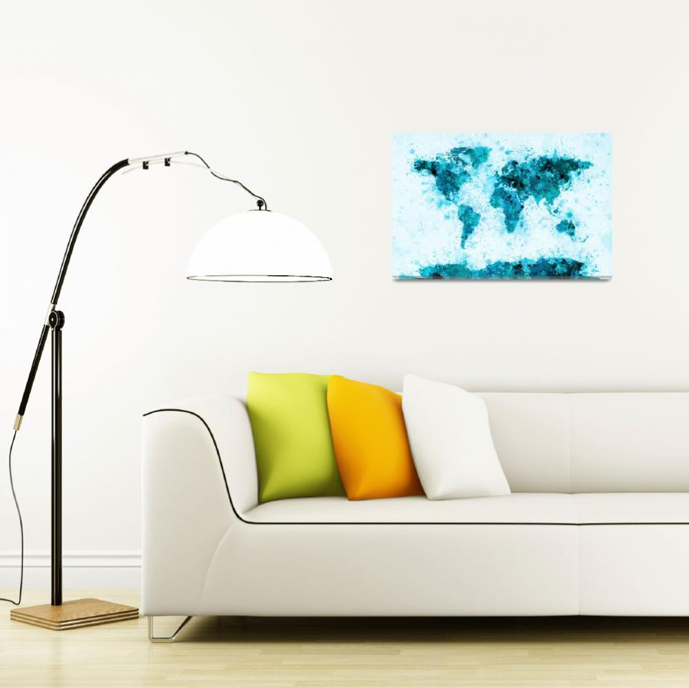 """World Map Paint Splashes Blue""  (2011) by ModernArtPrints"