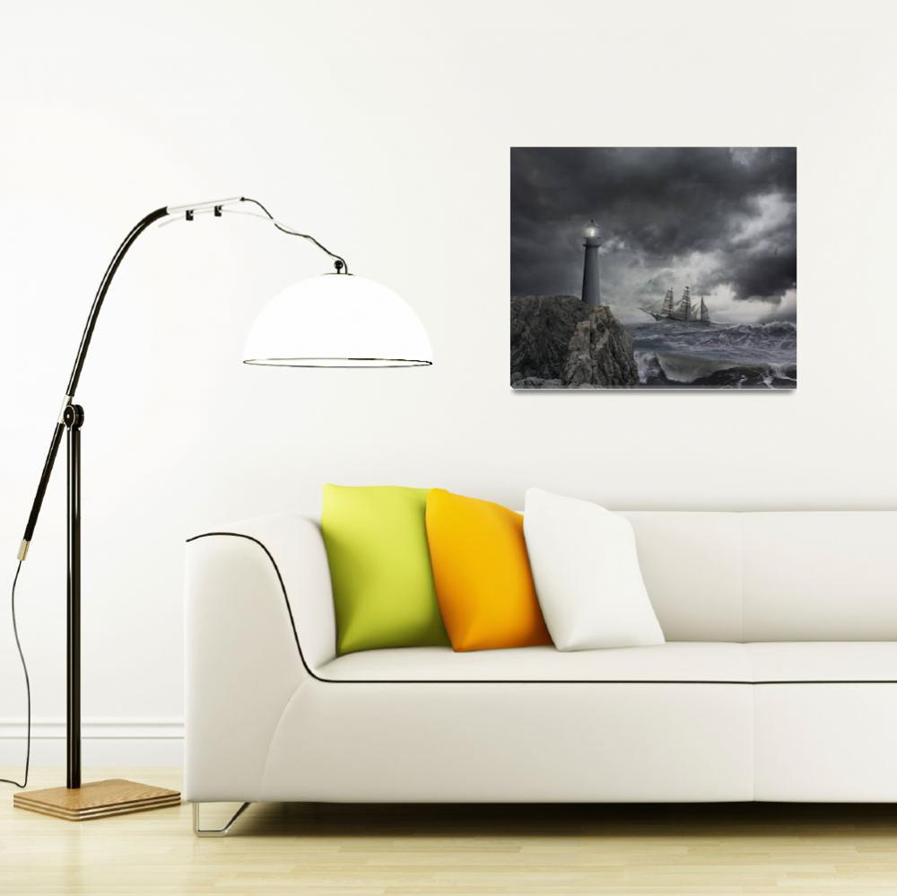 """Tall-Ship-Lighthouse-Storm&quot  (2014) by johnlund"