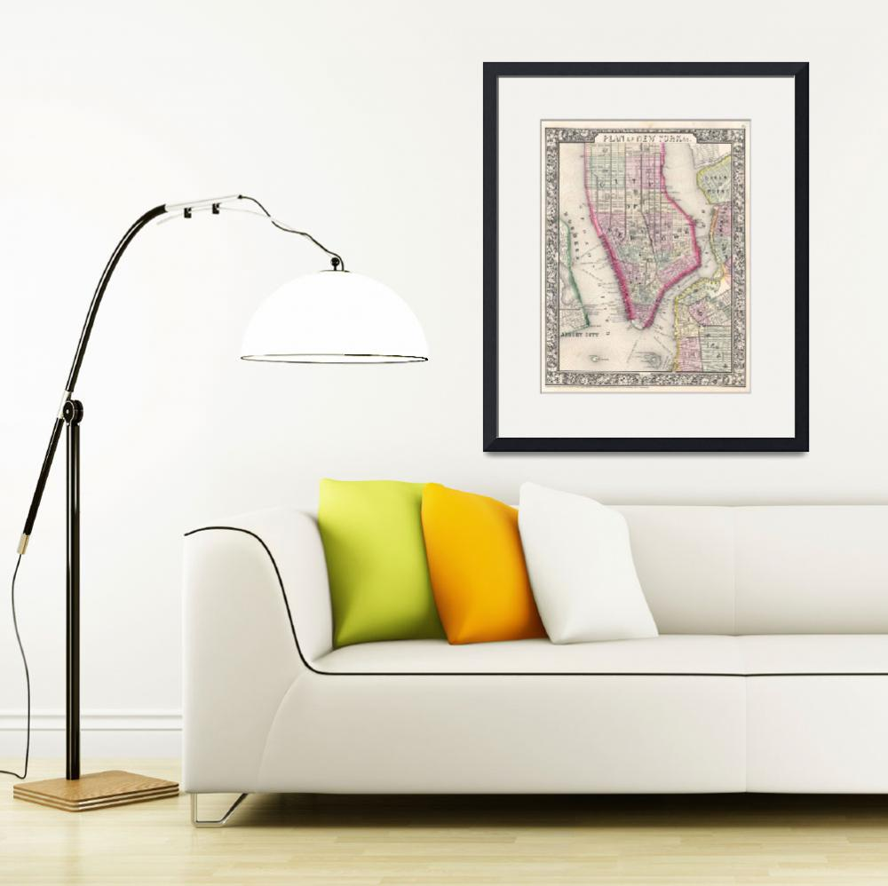 """""""Vintage Map of New York City (1864)&quot  by Alleycatshirts"""