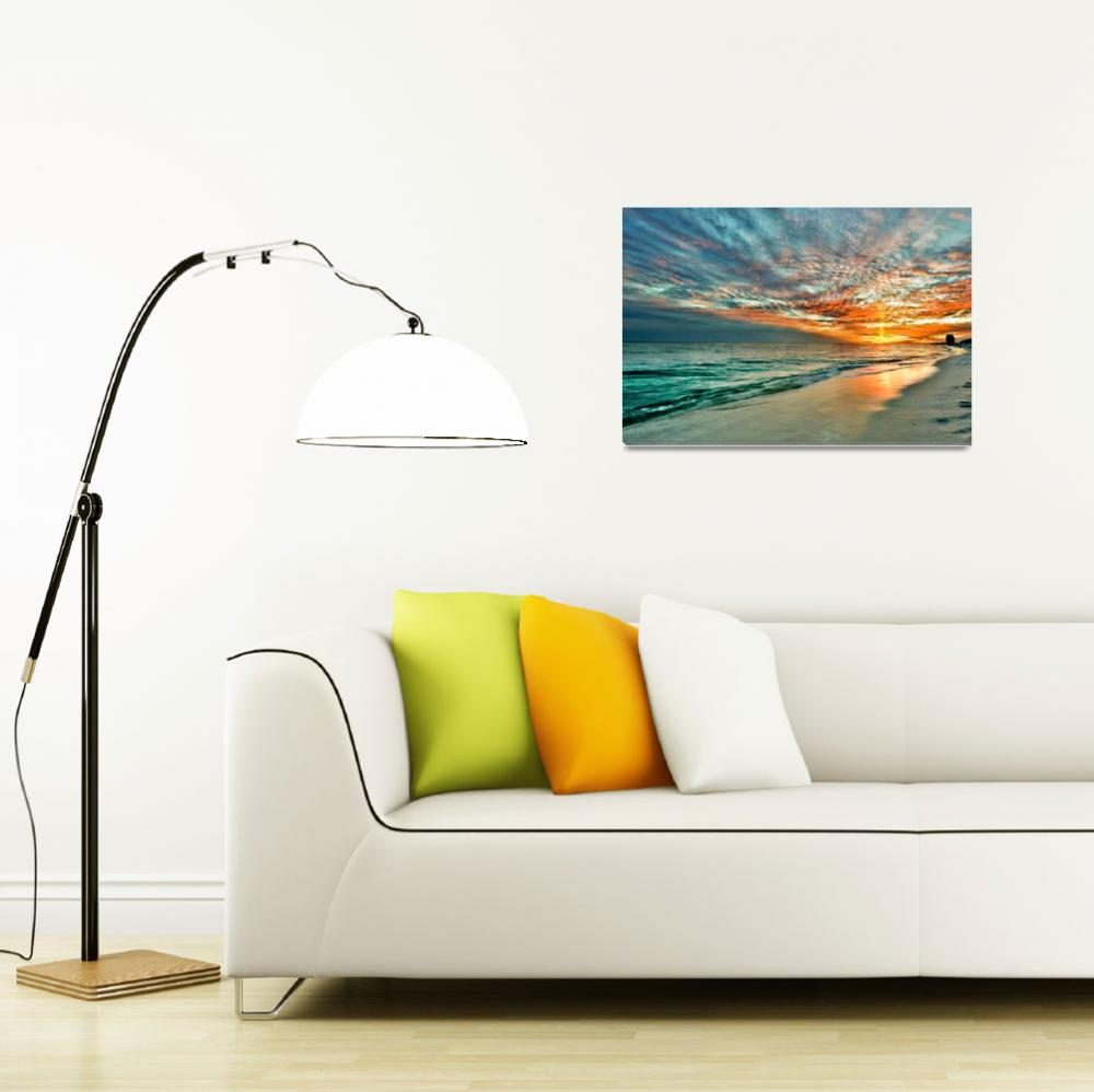 """Yellow Sunray through Red and Blue Sunset on Beach&quot  (2010) by eszra"