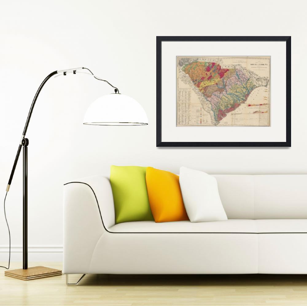 """""""Vintage Geological Map of South Carolina (1883)&quot  by Alleycatshirts"""