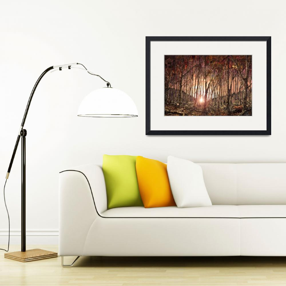 """""""FOREST AT SUNSET&quot  (2009) by WalterArtShop"""