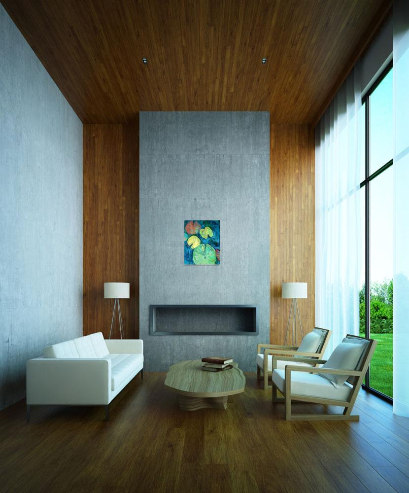 """Pond Gemstones 3 Abstract Modern Art Waterlily&quot  by schulmanart"