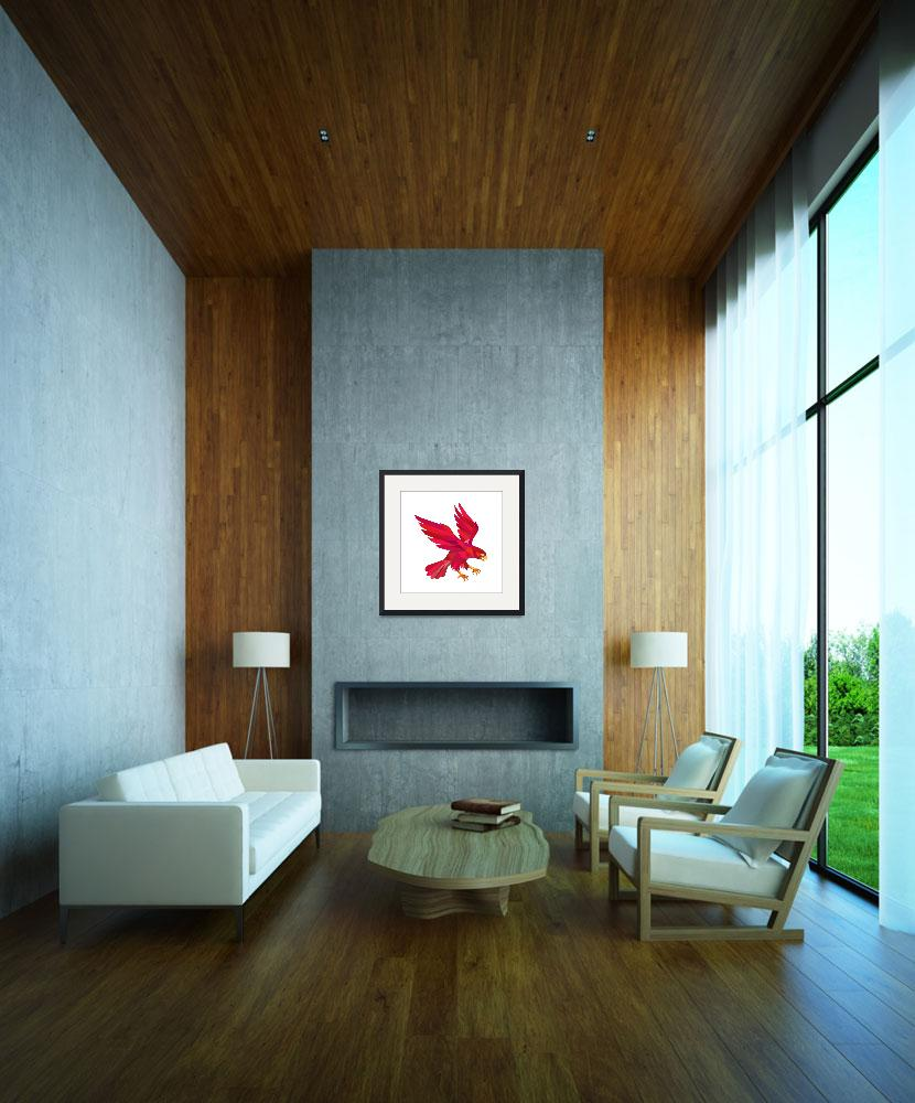 """""""Peregrine Falcon Swooping Low Polygon&quot  (2016) by patrimonio"""