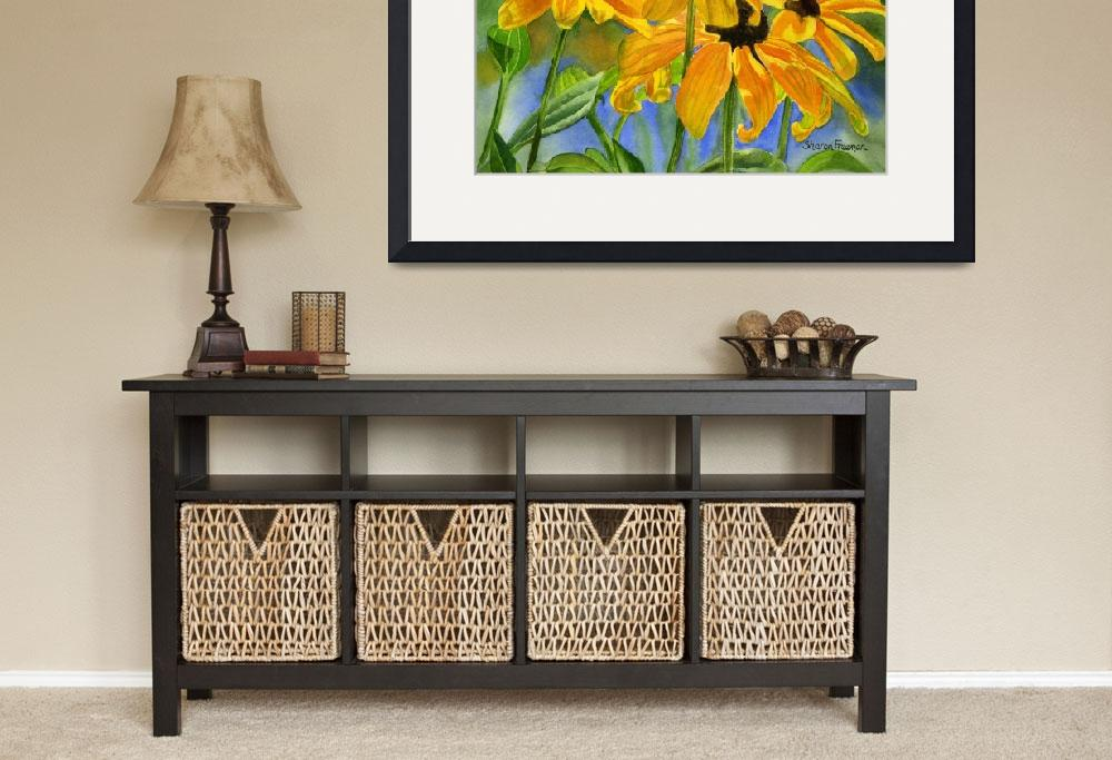 """""""black eyed susans horiz 11x16 res 300&quot  by Pacific-NW-Watercolors"""
