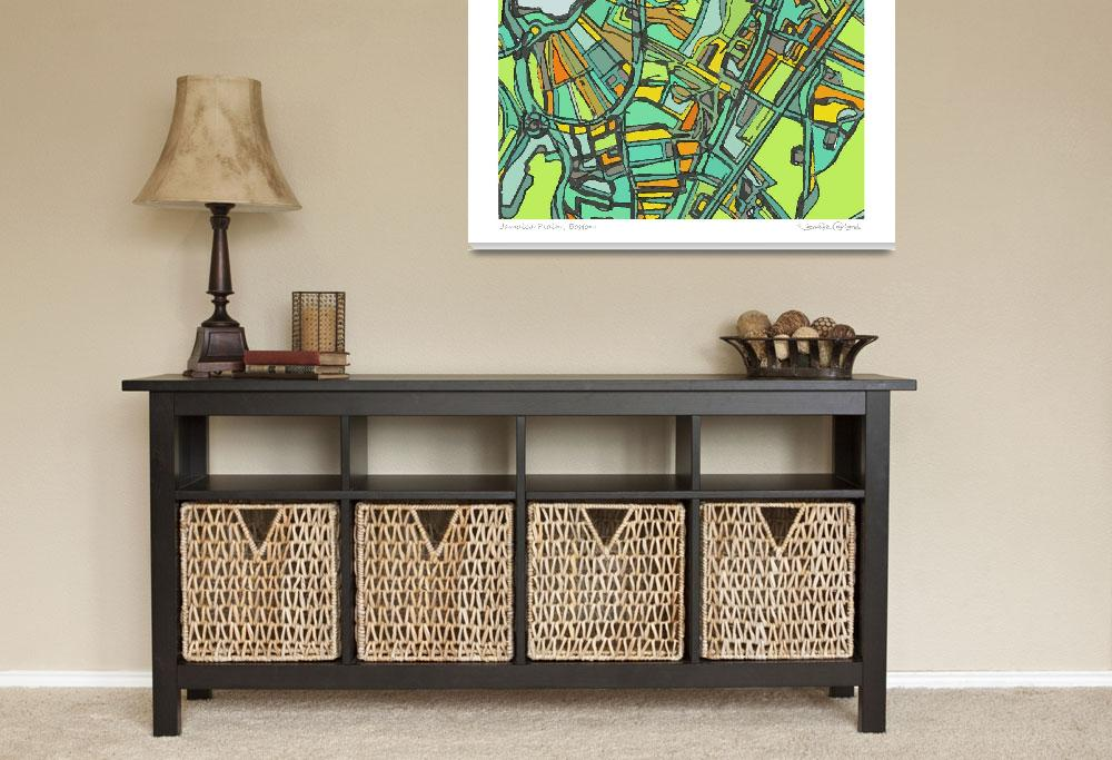 """""""Jamaica Plain 11x14 w border w sig and loc""""  by carlandcartography"""