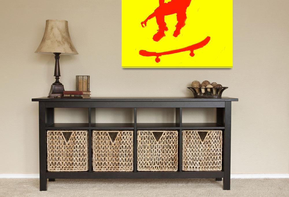 """""""Skateboarder 3 . yellow red (c)&quot  (2014) by edmarion"""
