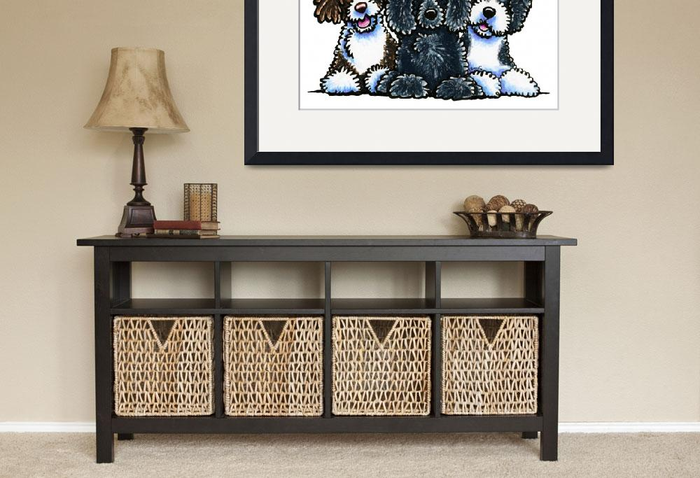 """""""3 Portuguese Water Dogs&quot  (2014) by OffLeashArt"""