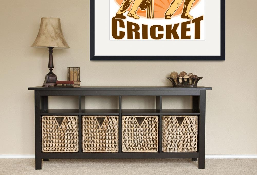 """cricket player batsman batting retro""  (2013) by patrimonio"