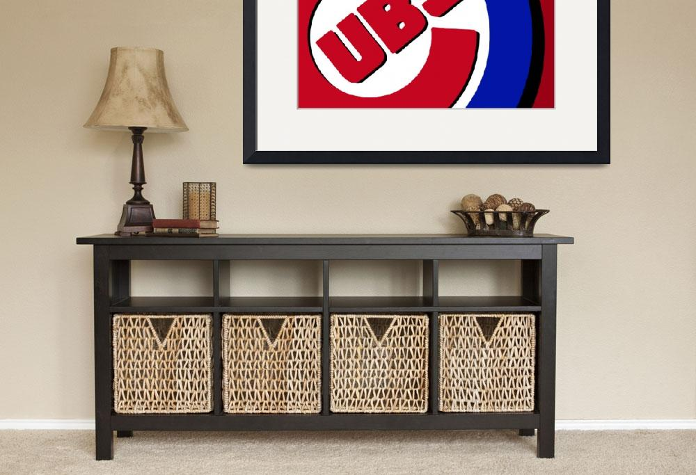 """""""Chicago Cubs Football&quot  (2016) by RubinoFineArt"""