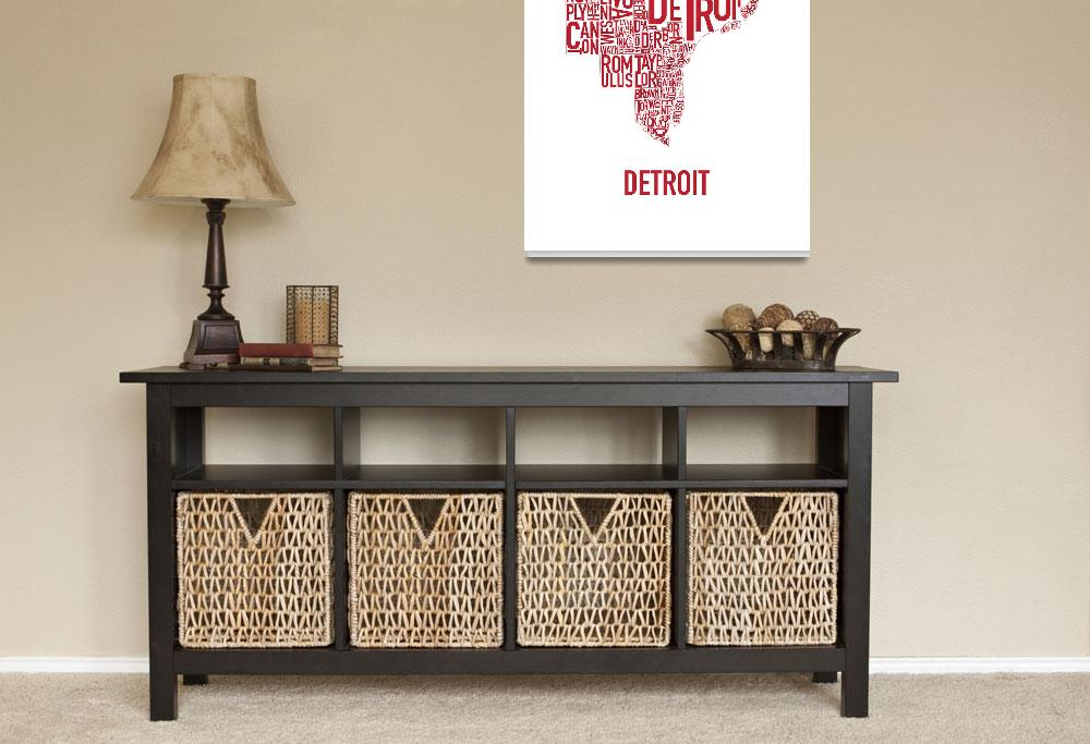 """""""Detroit Typography Map Red""""  by HunterLangston"""