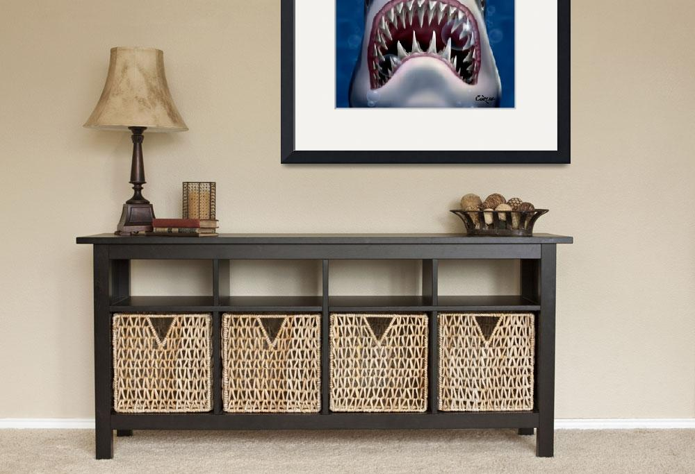 """""""Jaws Great White Shark Sea Life Ocean Art&quot  (1995) by walt-curlee"""