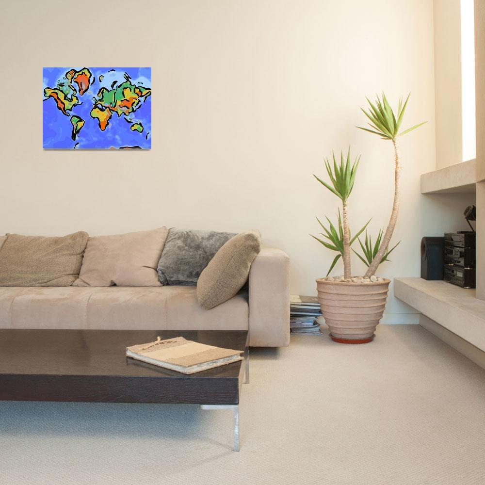 """Abstract World Map""  by motionage"