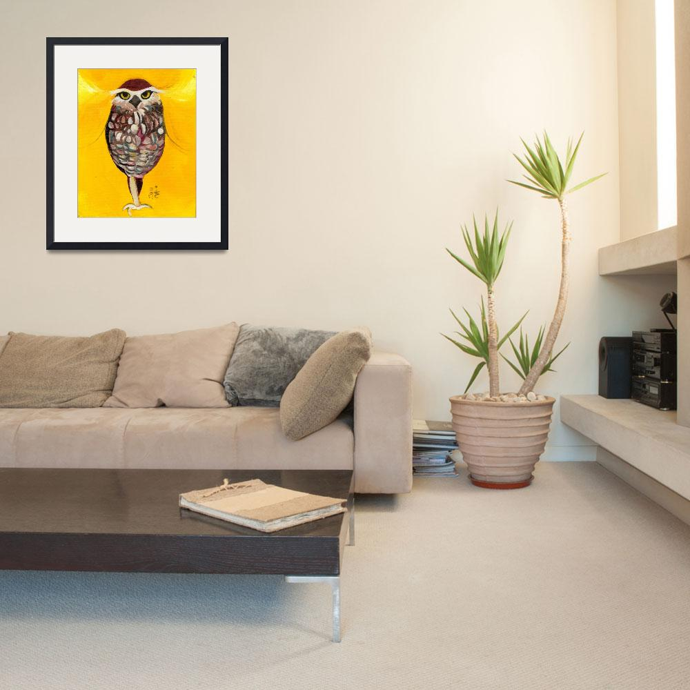 """""""Golden Warrior - Brown and White Owl&quot  (2011) by artchiz"""