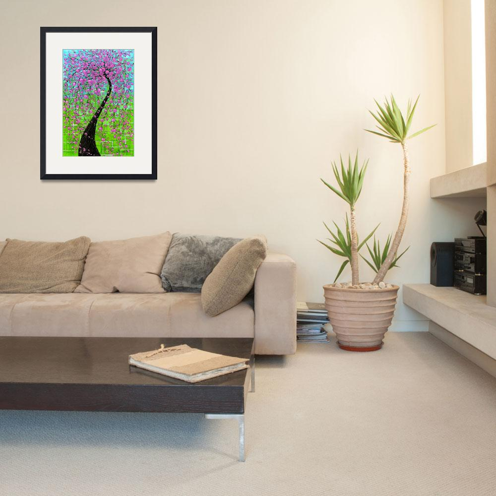 """""""Pink Cherry Blossom Tree&quot  (2009) by modernhouseart"""