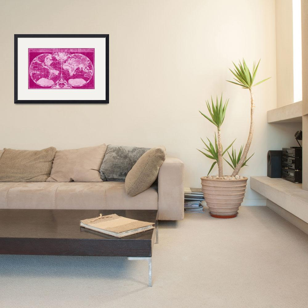 """""""World Map (1691) Pink & Light Pink""""  by Alleycatshirts"""