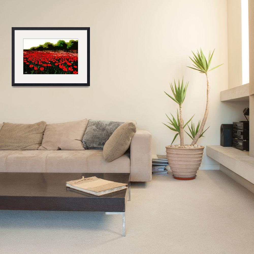 """""""RED POPPIES LANDSCAPES FLOWERS EMERALD ISLE MULTIM&quot  by grl"""