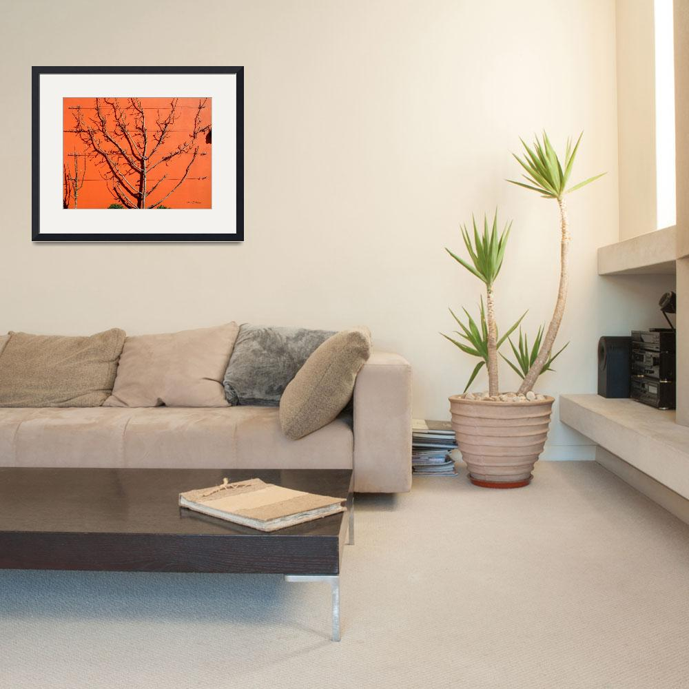 """""""garden on orange wall&quot  by punk"""